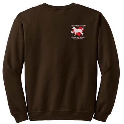 Irish Wolfhound Paw Prints Embroidered Sweatshirt