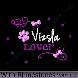 Rhinestones Vizsla Embroidery