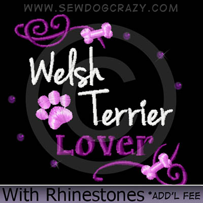 Rhinestones Embroidered Welsh Terrier Shirt