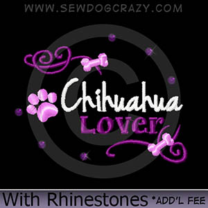 Rhinestones Chihuahua Embroidered Shirts