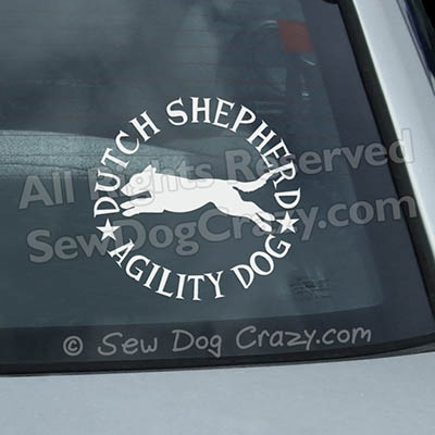 Dutch Shepherd Agility Car Window Stickers