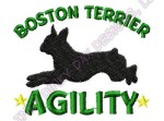Agility Boston Terrier Embroidery
