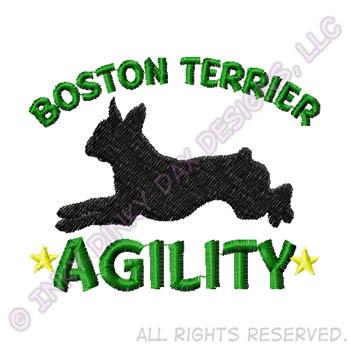 Agility Boston Terrier Embroidery