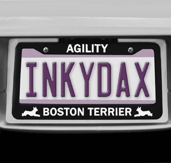 Boston Terrier Agility License Plate Frame