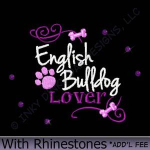 Rhinestones English Bulldog Apparel