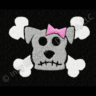 Dog Skull and Crossbones Embroidery