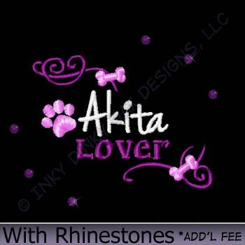 Rhinestones Akita Embroidery