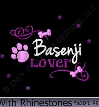 Rhinestones Basenji Embroidery