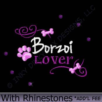 Rhinestones Borzoi Embroidery