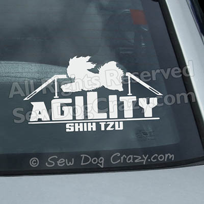 Vinyl Shih Tzu Agility Window Stickers