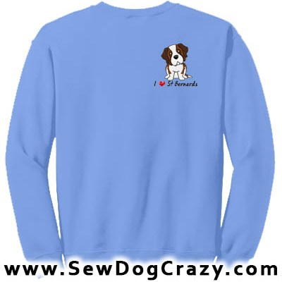 Embroidered I Love Saint Bernard Sweatshirts