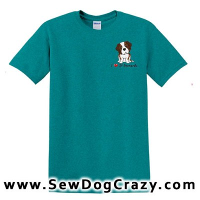 Embroidered I Love Saint Bernard TShirts