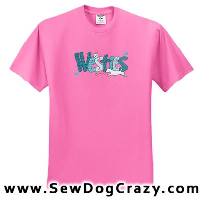 Cute Embroidered Westie Tees