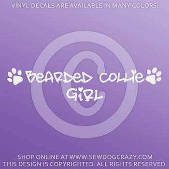 Bearded Collie Girl Vinyl Stickers