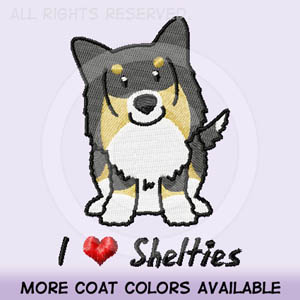 Tri color Sheltie Embroidered Apparel