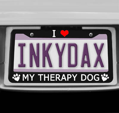 I Love My Therapy Dog License Plate Frame
