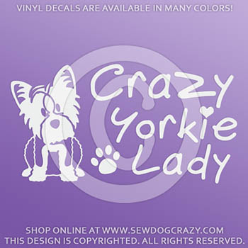 Crazy Yorkie Lady Decals