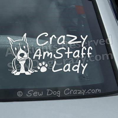 Crazy AmStaff Lady Window Decals