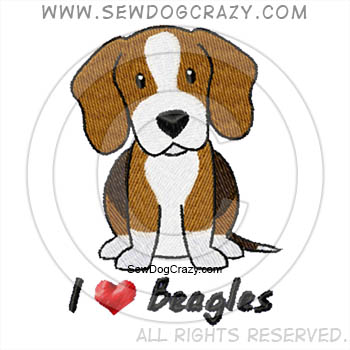I Love Beagles Embroidered Shirts