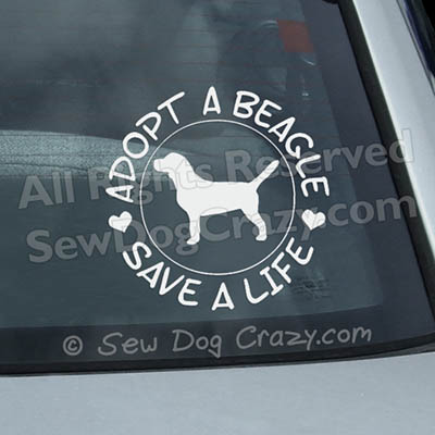 Adopt a Beagle Car Window Stickers