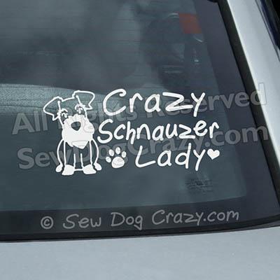 Crazy Schnauzer Lady Window Sticker