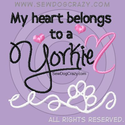 Pretty Embroidered Yorkie Shirts