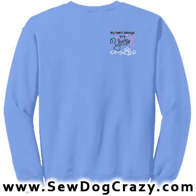 Pretty Embroidered Yorkie Sweatshirts