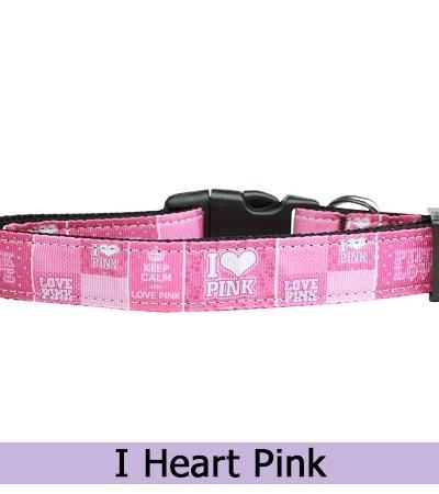 I Love Pink Dog Collar