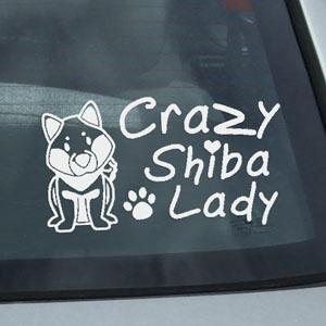 Crazy Shiba Lady Decal