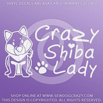 Vinyl Crazy Shiba Lady Stickers