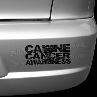 Canine Cancer Ribbon Bumper Sticker