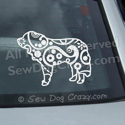 Paisley Saint Bernard Car Window Sticker