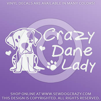 Crazy Great Dane Lady Vinyl Sticker