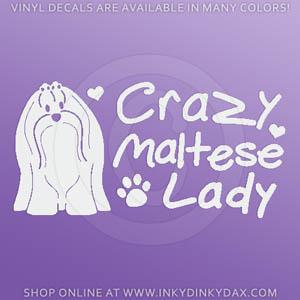 Crazy Maltese Lady Sticker