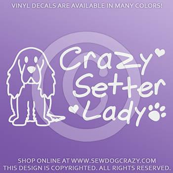 Crazy Irish Setter Lady Vinyl Stickers