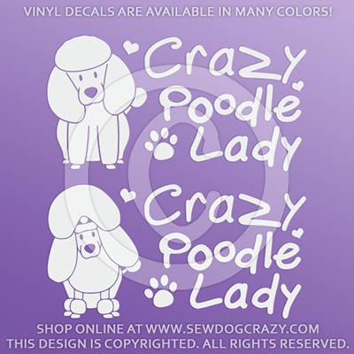 Crazy Poodle Lady Car Decals