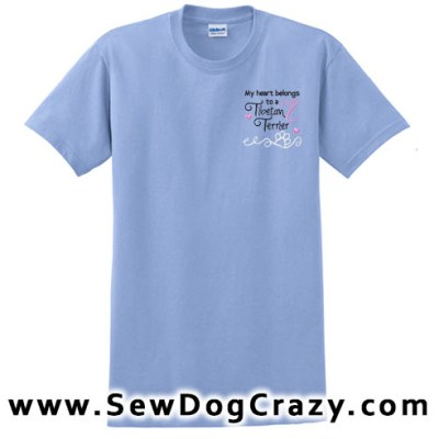 Embroidered Heart Tibetan Terrier TShirts