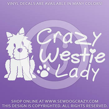 Crazy Westie Lady Decals