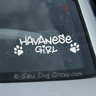 Havanese Girl Car Window Sticker