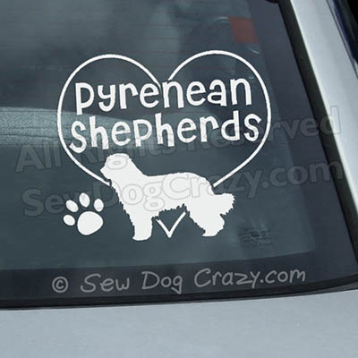 I Love Pyrenean Shepherds Decal