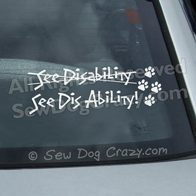 Disabled Dog Car Sticker
