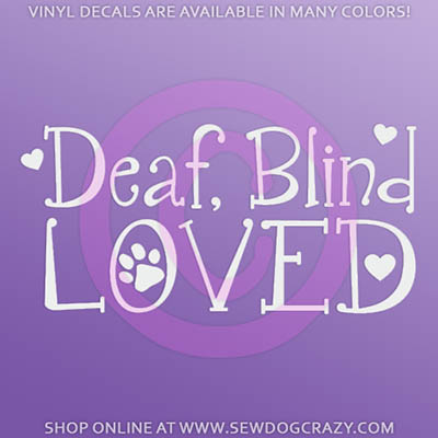 Deaf Blind Dog Car Window Stickers