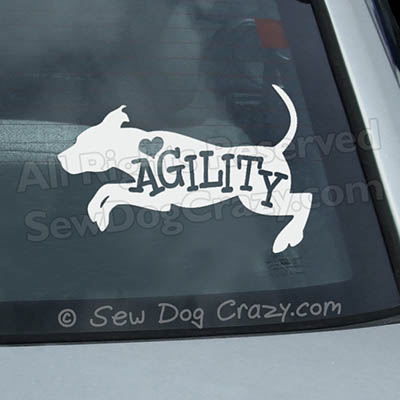 Love Agility Pit Bull Car Window Sticker