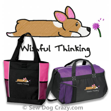 Embroidered Corgi Bags