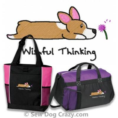 Embroidered Corgi Bags