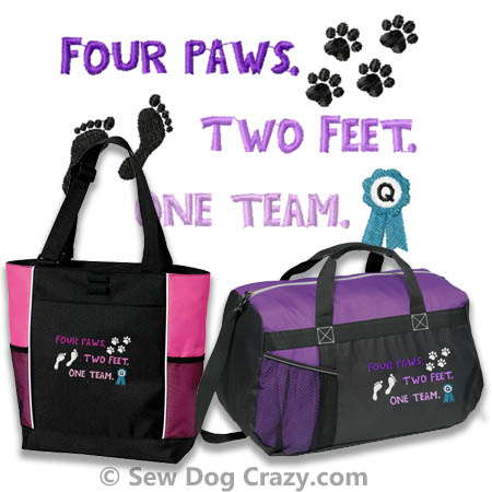 Four Paws Two Feet One Team Embroidered Bags