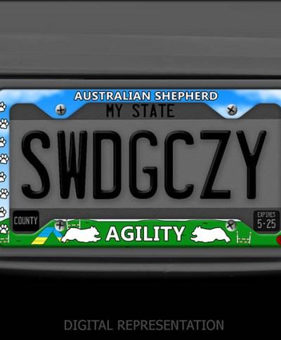 Aussie Agility License Plate Frame