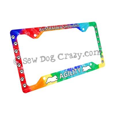 Tie Dye Australian Shepherd Agility License Plate Frame