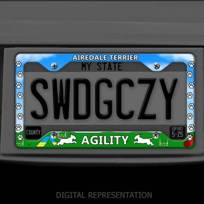 Airedale Terrier Agility License Plate Frame