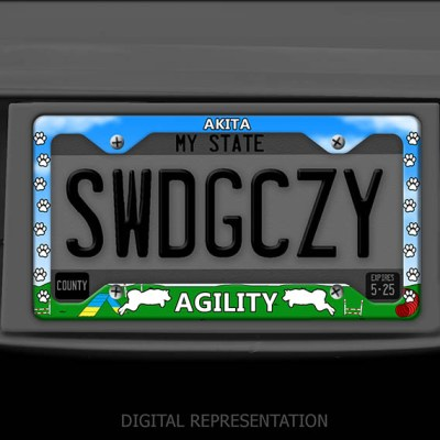 Akita Agility License Plate Frame
